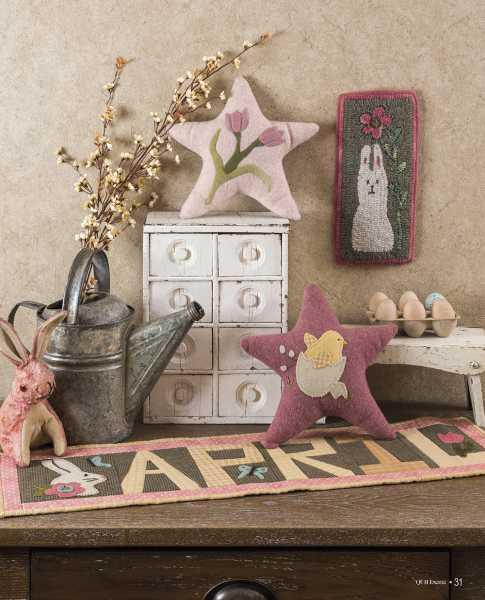 Seasons at Buttermilk Basin - Printemps-Spring pattern - Tapis de table_Cotton wool runner - Coussin Etoiles Printanières_Spring Stars Pillow-crochet hooked
