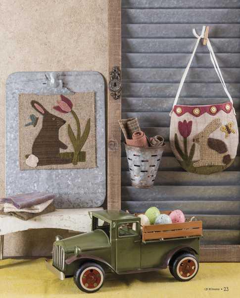 Seasons at Buttermilk Basin - Printemps-Spring pattern - pochette tulipe et lapin - tulip and bunny Pouch-mat - panneau - panel