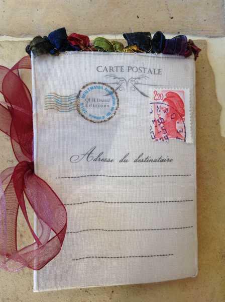 Carte de voeaux textile n°7 verso par Béatrice