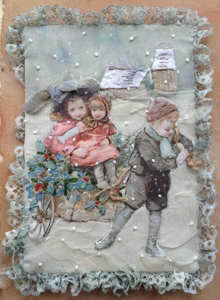 carte de voeux textile n°10 recto par Béatrice