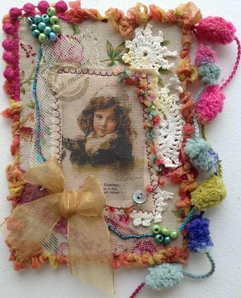 Exemple de carte de voeux textile n°2 par Béatrice Airaud