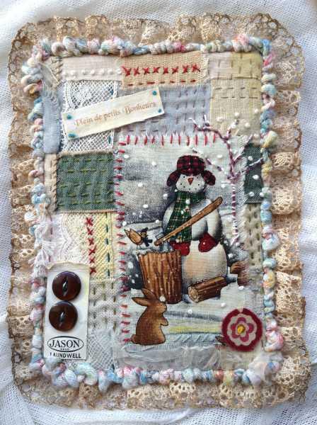 Carte de voeux textile n°3 recto de béatrice
