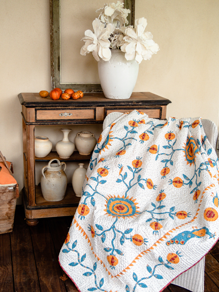 Pomegranates And Peacocks quilt - Deborah Dorward